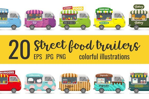 20 fast food street trailers by primula on @creativemarket