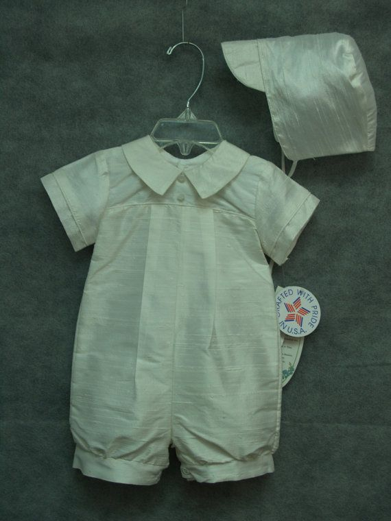 Boy Baptism Silk Romper with hat Off white color  made in USA on Etsy, $59.00