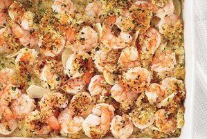 Moist but crunchy. Impressive but simple. Our recipe for Garlicky Baked Shrimp benefits from a ridiculously straightforward cooking method: Instead of the time-consuming chore of breading and frying each individual crustacean, you'll form two layers in a baking sheet and let a 425-degree oven do almost all the work. One serving idea? While the shrimp bakes, cook some angel hair pasta, and toss the noodles with a bit of olive oil. Serve the shrimp over the pasta, with a lemon wedge on the…