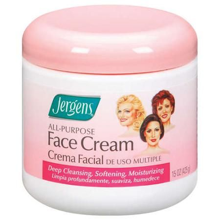 Jergens All-Purpose Face Cream, is my favorite it's great to remove make up or as a night time mask it seems to hydrate my cuticles too