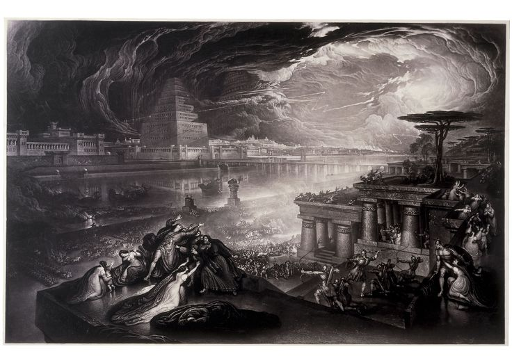 John Martin - The Fall of Babylon, Mezzotint with etching