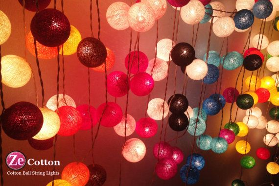 35 Cotton Ball Set : Customer Single Color Cotton Ball String Lights Fairy lights Party Decor Wedding Bedroom Garden Spa and Holiday Lighting