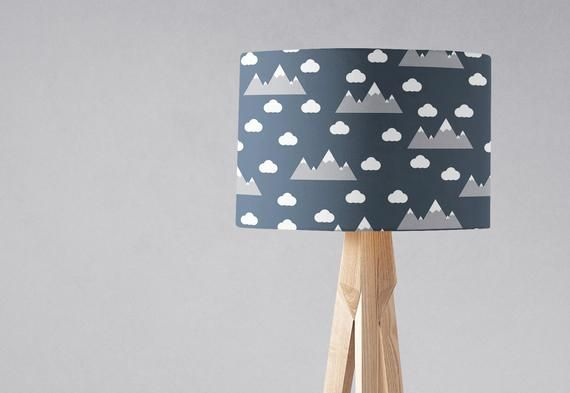 Navy Blue Lampshade Clouds And