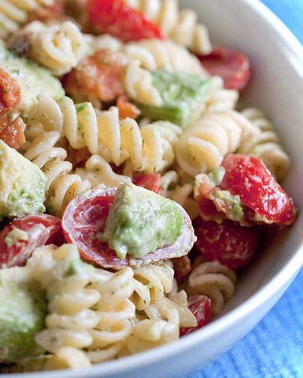 Creamy Bacon Tomato and Avocado Pasta Salad