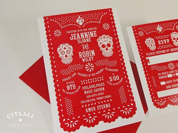 Red Papel Picado Day of the Dead Skulls / Dia de los Muertos Wedding Invitation Mexican Fiesta by www.citlalicreativo.com