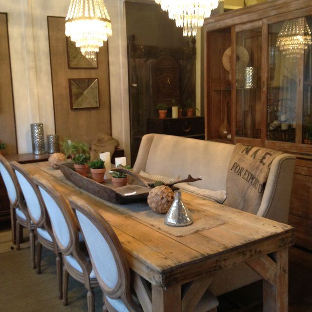 Refinished & sun bleached antique pine harvest/farm dining table. It has a salvaged, weathered & distressed patina similar to Restoration Hardware but the real deal.