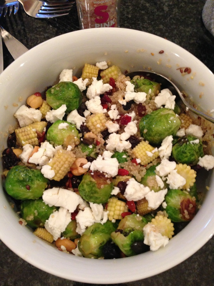 Brussel sprout and quinoa salad with cranberries, nuts and goats cheese.