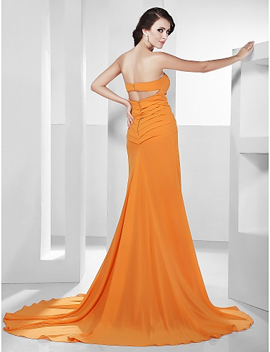 A-line Sweetheart Court Train Chiffon Evening Dress inspired by Lea Michele - USD $ 199.99 - Free shipping for all
