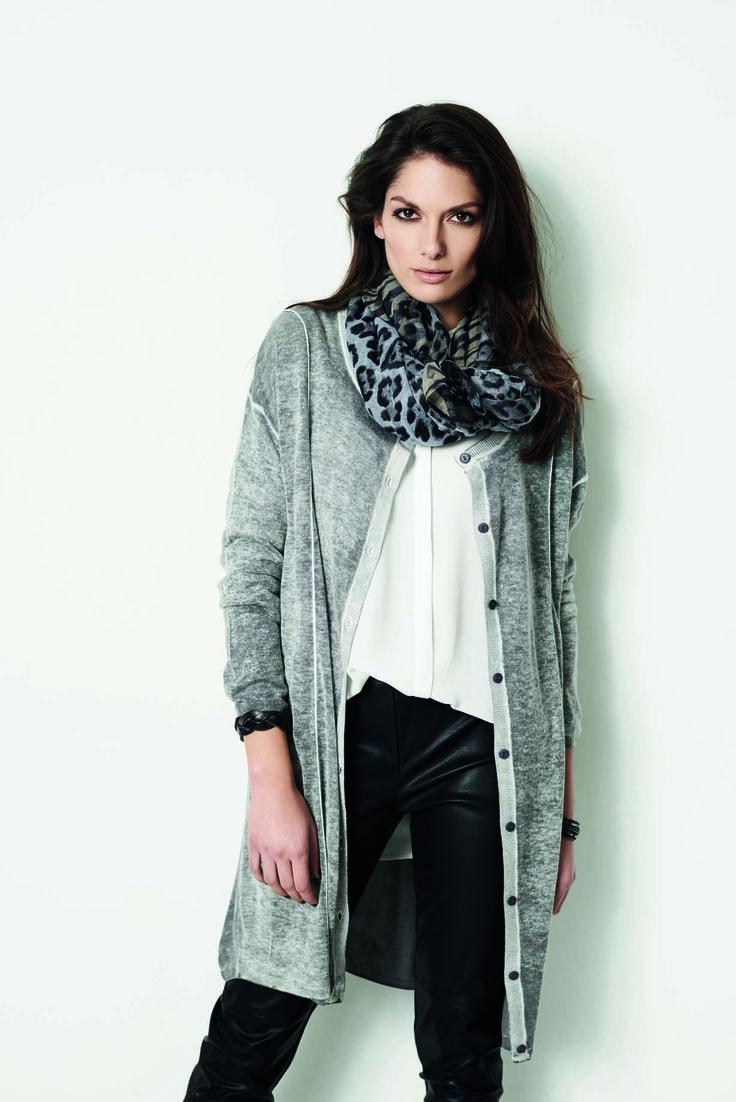 soyaconcept - cardigan - knit - shirt - pants - leatherpants - leather - scarf