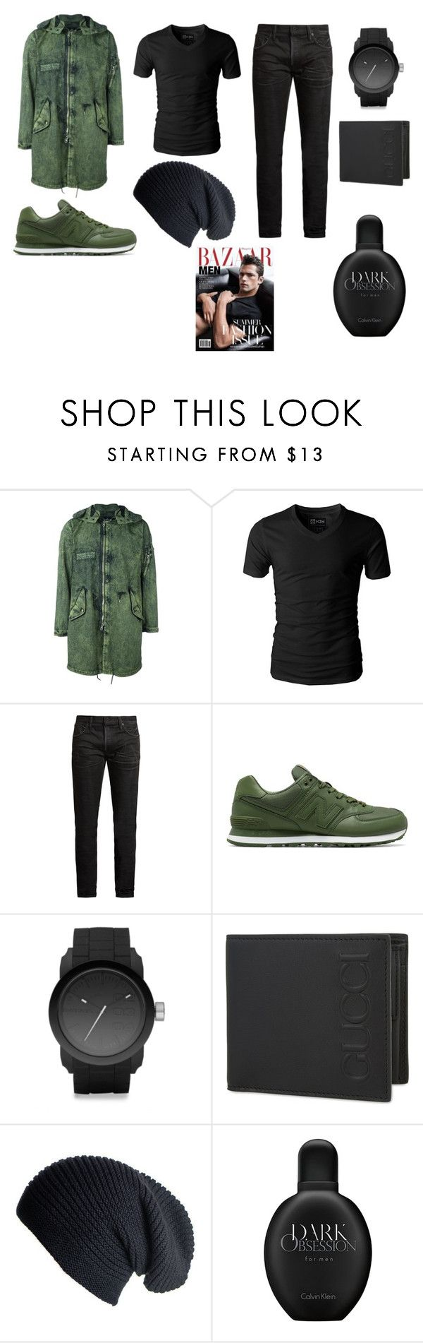 """прогулка"" by reduska on Polyvore featuring stone island shadow project, MasterCraft Union, New Balance, Diesel, Gucci, Black, Calvin Klein, men's fashion и menswear"