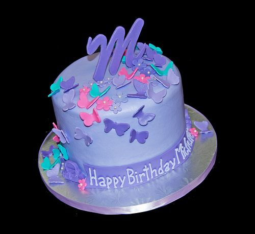 birthday butterfly cake ideas for women | We decorated this cake with a cascade of butterflies and flowers in ...