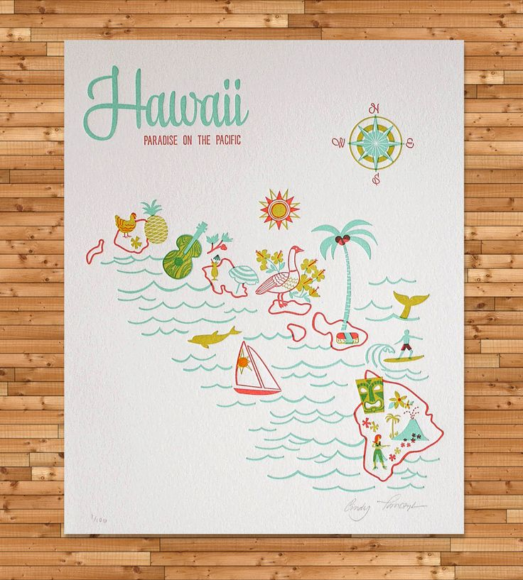 Vintage-Inspired Hawaii Map Print | Art Prints | Paper Parasol Press | Scoutmob Shoppe | Product Detail