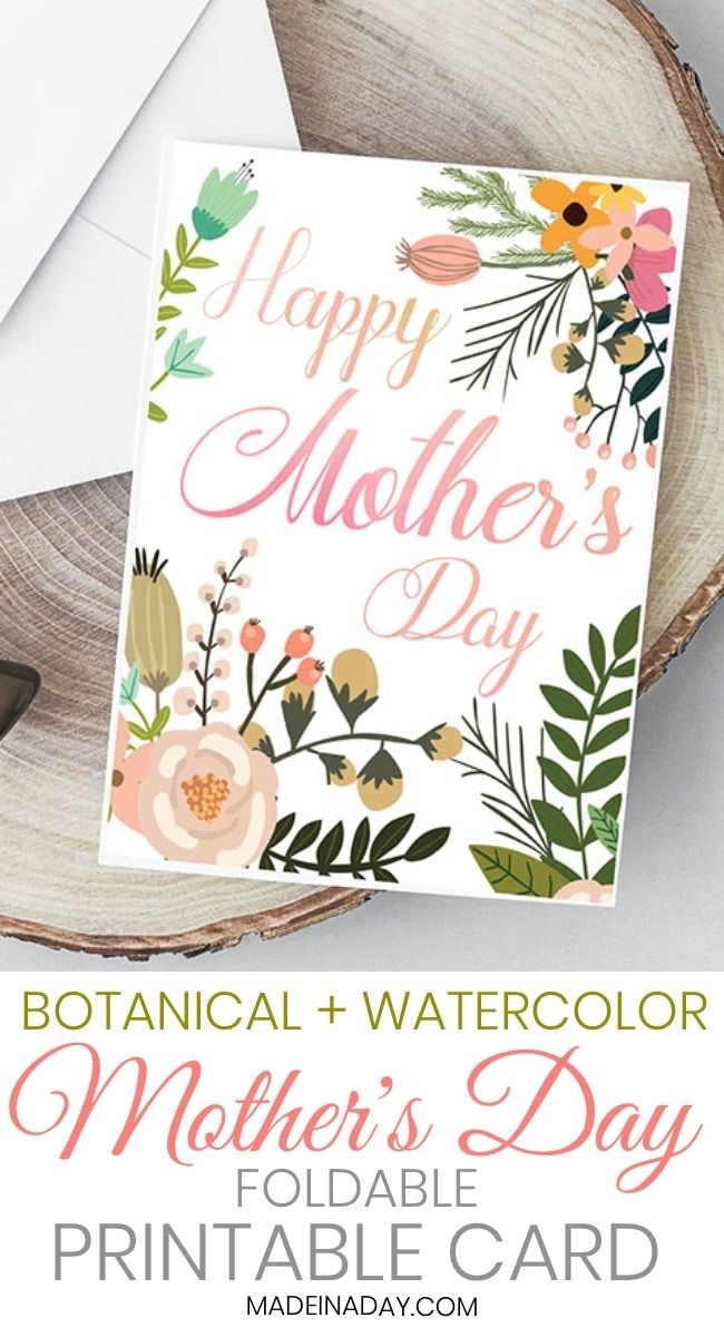 Beautiful Botanical Foldable Mother S Day Card Printable Mothers Day Cards Printable Mothers Day Card Template Free Mothers Day Cards