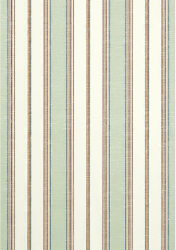 Bohemian Stripe #wallpaper and coordinating #fabric in Seafoam from the #Monterey collection by #Thibaut
