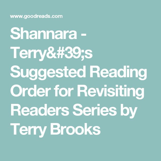 Shannara - Terry's Suggested Reading Order for Revisiting Readers Series by Terry Brooks