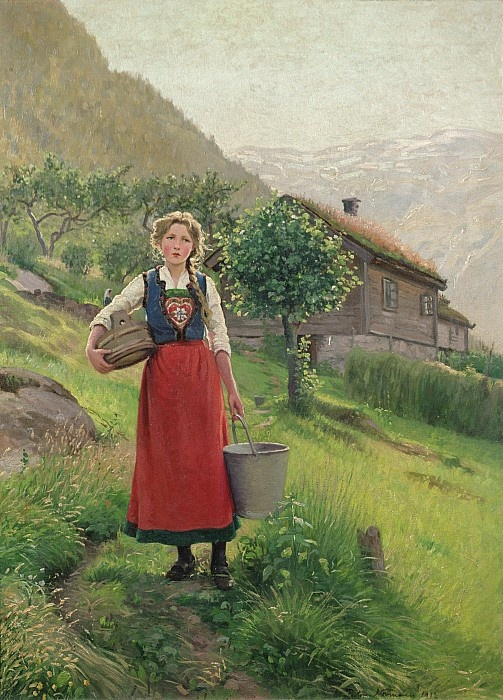 E Normann: Summer mountain pasture girl