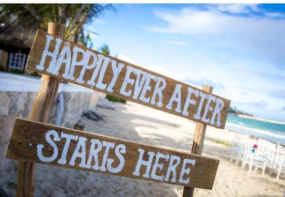 CBS116 Wedding sign, HAPPILY EVER AFTER STARTS HERE
