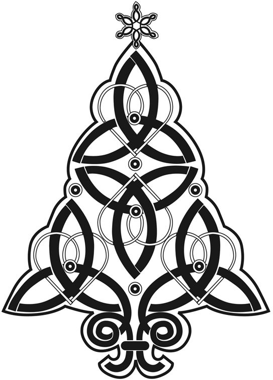 LARGE CELTIC CHRISTMAS TREE - CLING MOUNTED RUBBER STAMP ...