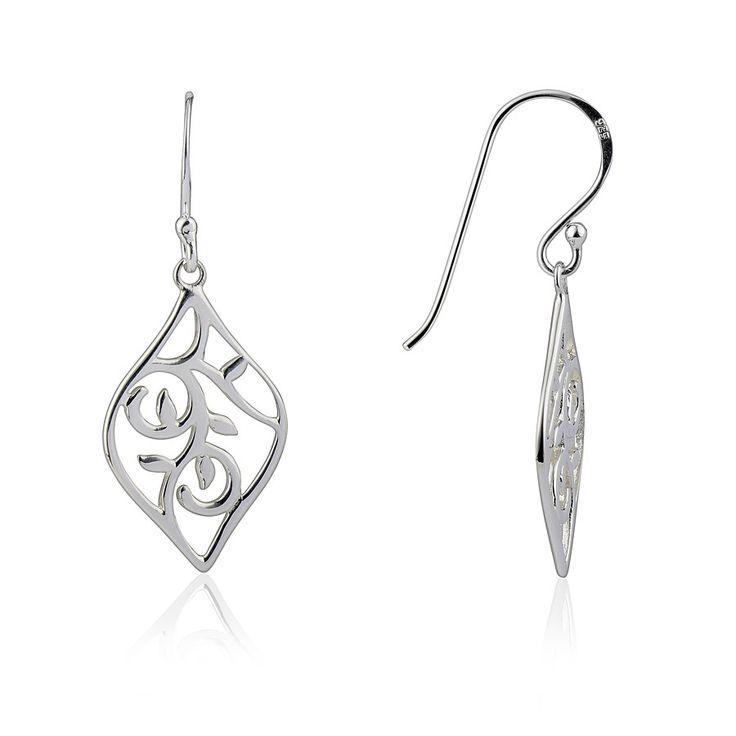 Argento Leaf Design Drop Earrings