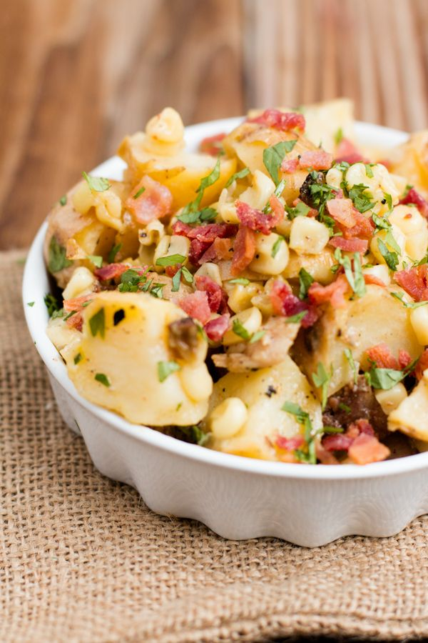 Warm  Potato Salad- the best side ever!!  We've made it 4 times in the past week. Bacon, corn and a sticky dressing you'll love! ohsweetbasil.com