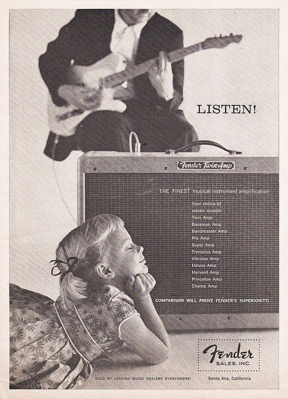 1959 FENDER GUITAR AMP Music Advertisement Daddy's Little Girl Listens by phorgotten