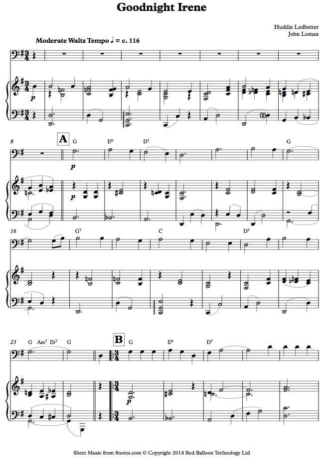 Leadbelly - Goodnight, Irene sheet music for Cello