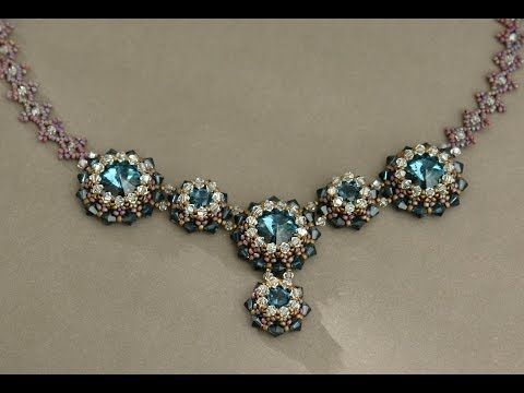 Sidonia's handmade jewelry - Blue Roses Necklace - Swarovski Necklace P1 - YouTube