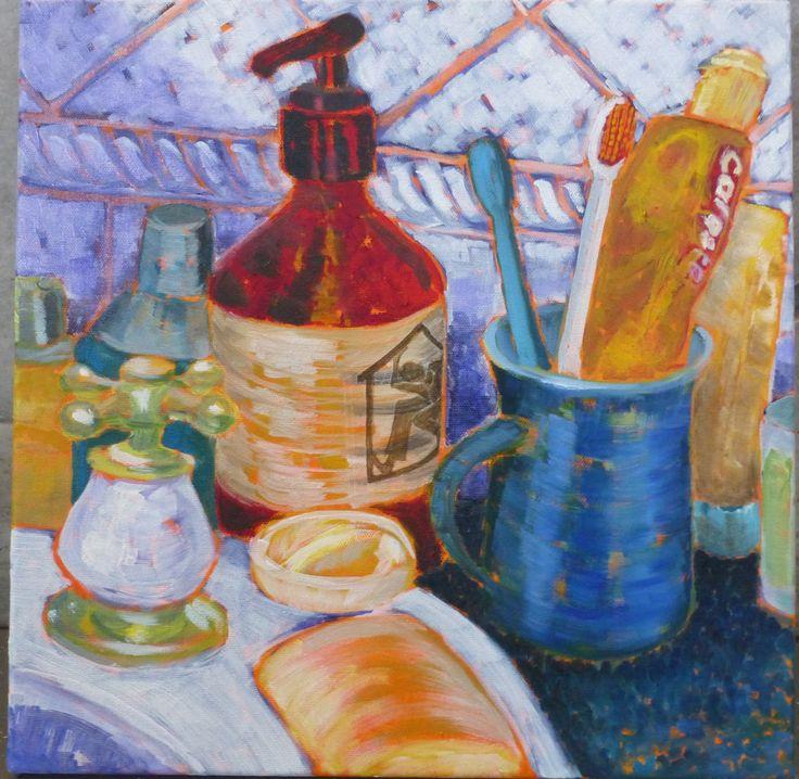 "Joanna Mansueto ""bathroom bits"" oil on canvas 2014"