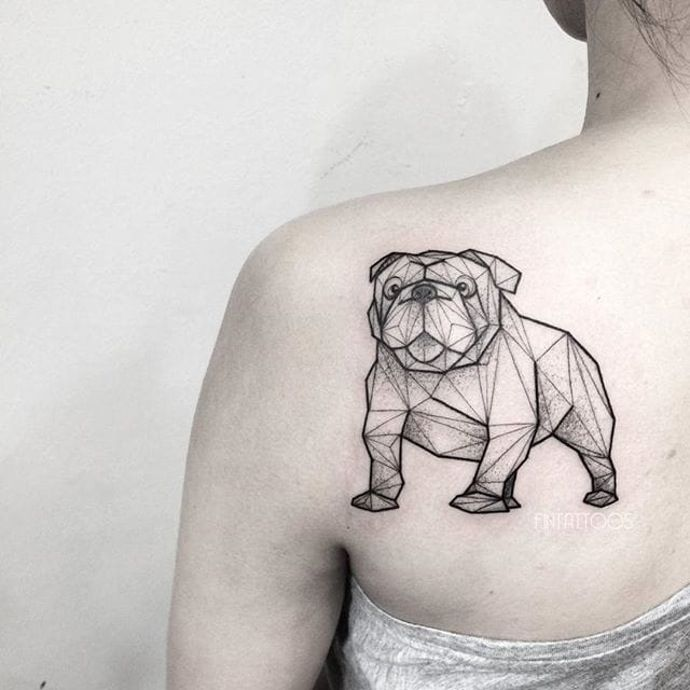 Bulldog tattoo by Fin T. #FinT #malaysia #geometric #animal #origami…