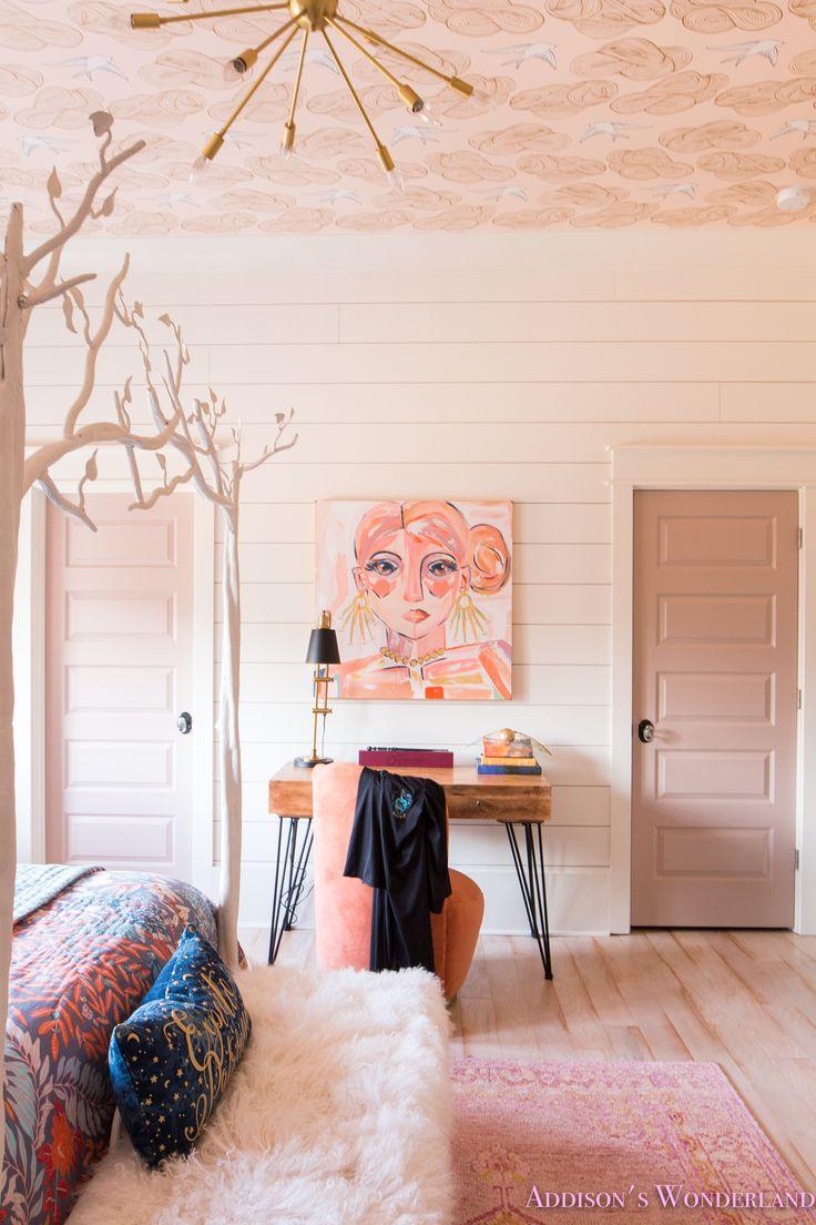 Inside My Daughter's Beautiful Harry Potter Themed Bedroom...    daydream-blush-wallpaper-whitewashed-hardwoods-shaw-muirs-park-bridal-veil-wallpapered-ceiling-sputnik-chandelier-fur-bench-white-canopy-bed-orange-pink-rug-anthropologie-quilt-craftsman-door-shiplap-alabaster-sherwin-williams-roman-shades