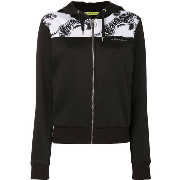 Versace Jeans Printed Hooded Sweater ($287) ❤ liked on Polyvore featuring tops, sweaters, black and white top, black white sweater, versace, black white top and hooded sweater