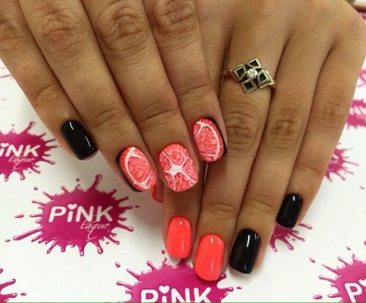 Accurate nails, Citrus nails, Drawings on nails, Fruit nails, Juicy summer…