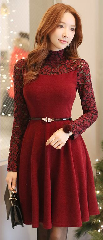 StyleOnme_Floral Brushed Lace High Neck Belted Flared Dress #partylook #lace #floral #dress #christmas #holidaylook #red #pretty #feminine #girlish #koreanfashion #wintertrend #kstyle #highneck #kfashion