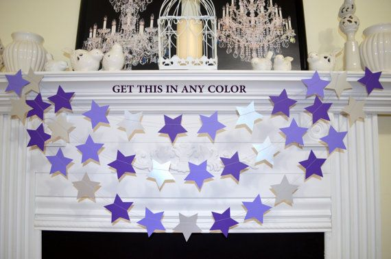 twinkle twinkle little star garland Silver star garland, galaxy birthday decor, purple star banner star birthday decorations, star garland,