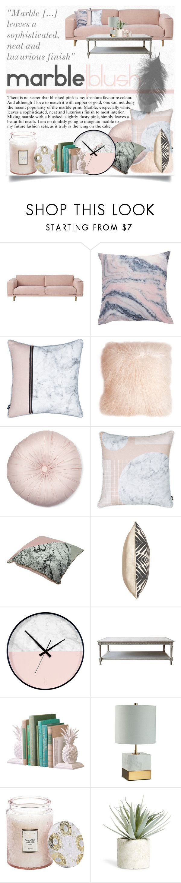 """Blush X Marble"" by karolineacc ❤ liked on Polyvore featuring interior, interiors, interior design, home, home decor, interior decorating, Muuto, Pillow Decor, Voluspa and Allstate Floral"