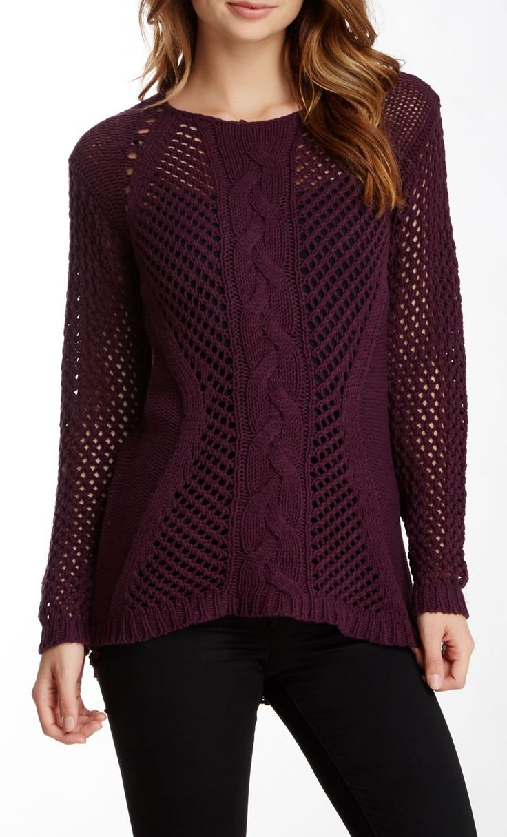 Open Knit Sweater in Burgundy - Love the design and color!