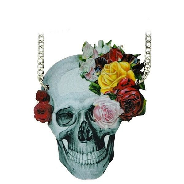 Fashion Necklace - Yashika Rocker-Style Gothic Statement Skull Necklace With Flower Accent