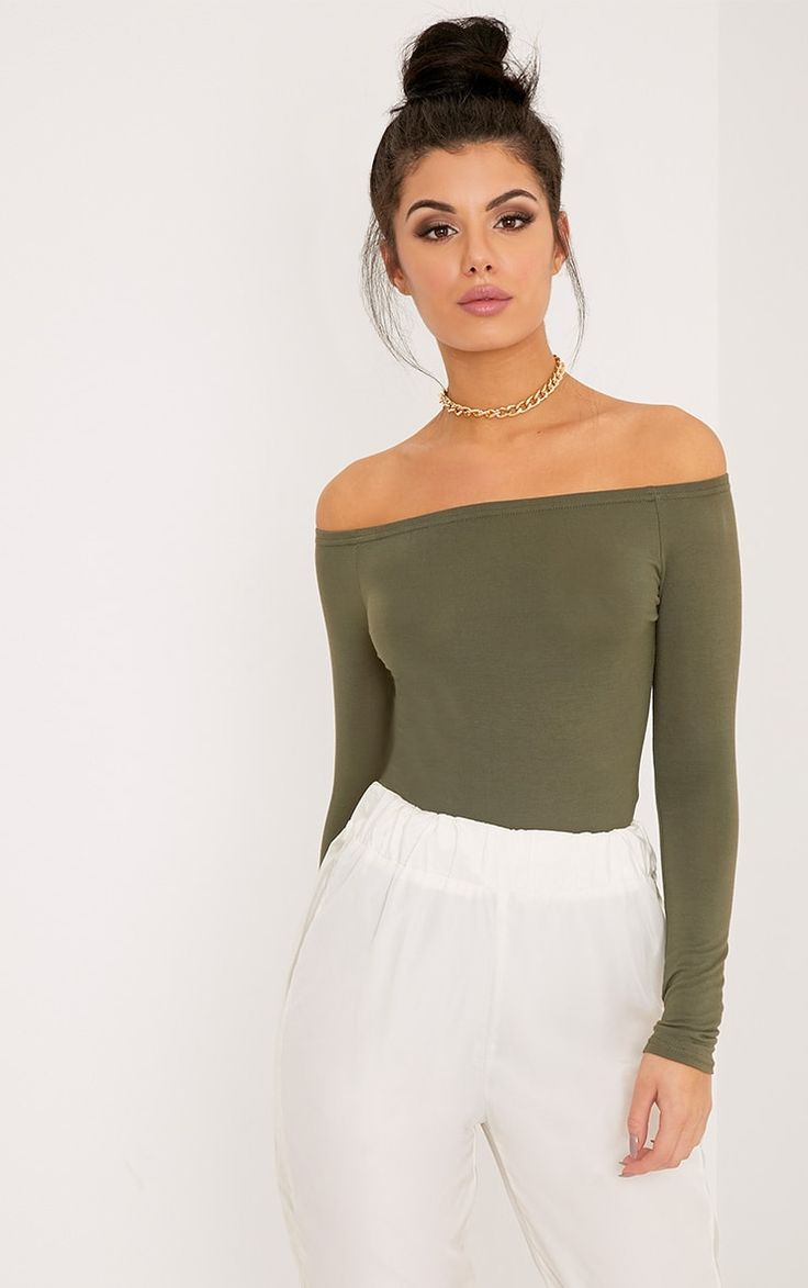 Khaki Bardot BodysuitMake your outfit into a statement look with these bardot style, bodysuit. Fe...