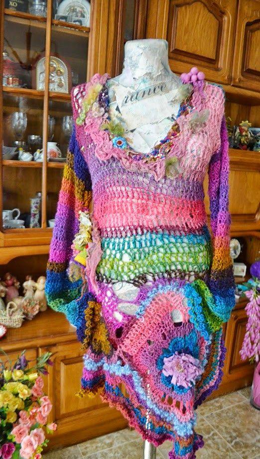 Crochet dress boho chic mori girl dress fairy dress tattered dress wearable art dress  layers and frills eclectic dress gypsy  Autumn Dream