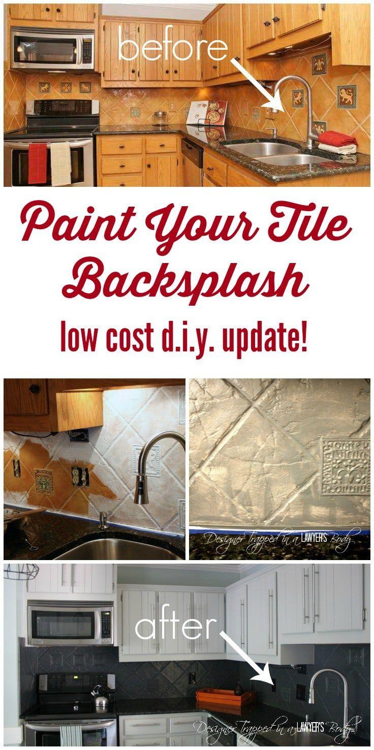 How To Paint A Tile Backsplash My Budget Solution Designer Trapped Diy Backsplash Painting Tile Backsplash Tile Backsplash