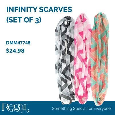 INFINITY SCARF (SET OF 3)  Accessorize your wardrobe with these lightweight infinity scarves. Multiple ways to change your look in seconds!
