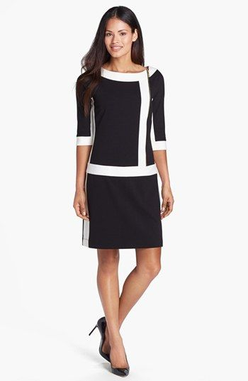 Ellen Tracy Front Zip Colorblock Ponte Knit Shift Dress available at #Nordstrom