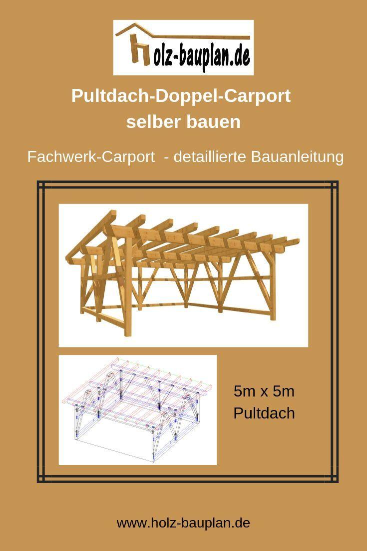 Flachdach Carport Bauen Detaillierten Bauplan Als Pdf Datei Sofort Download Carport Zeichnung Carport Carport Selber Bauen Carport Holz