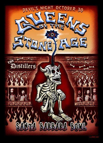 "Queens of the Stone Age w/ the Distillers devil's night poster (click image for more detail) Artist: EMEK Venue: Santa Barbara Bowl Location: Santa Barbara, CA Concert Date: 10/30/2003 Size: 18 1/4"" x"