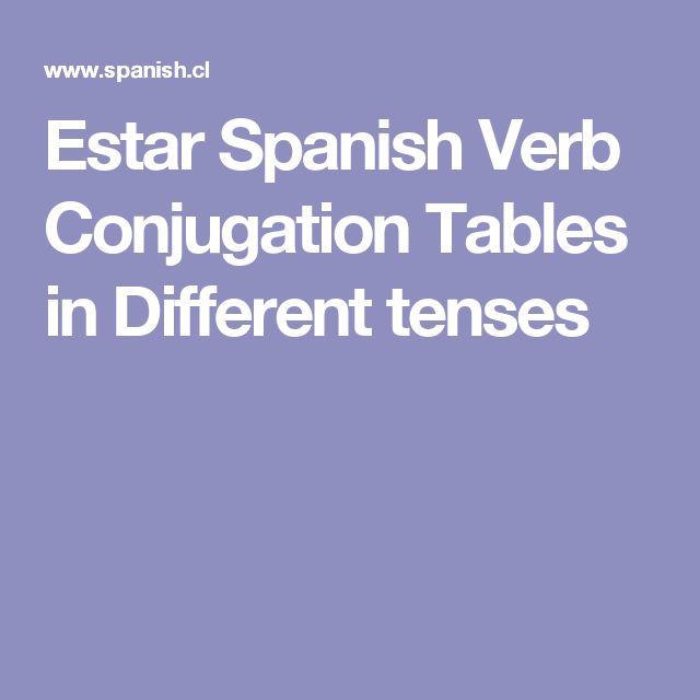 Estar Spanish Verb Conjugation Tables in Different tenses