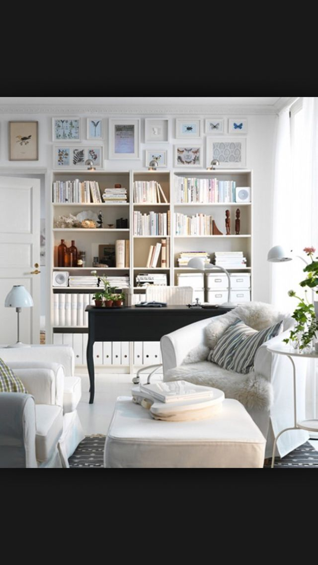 ikea white room with bookshelves and desk love this for an office