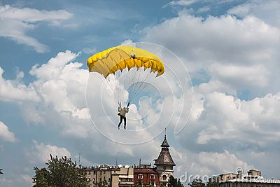 Parachutist Preparing To Land - Download From Over 24 Million High Quality Stock Photos, Images, Vectors. Sign up for FREE today. Image: 41619901