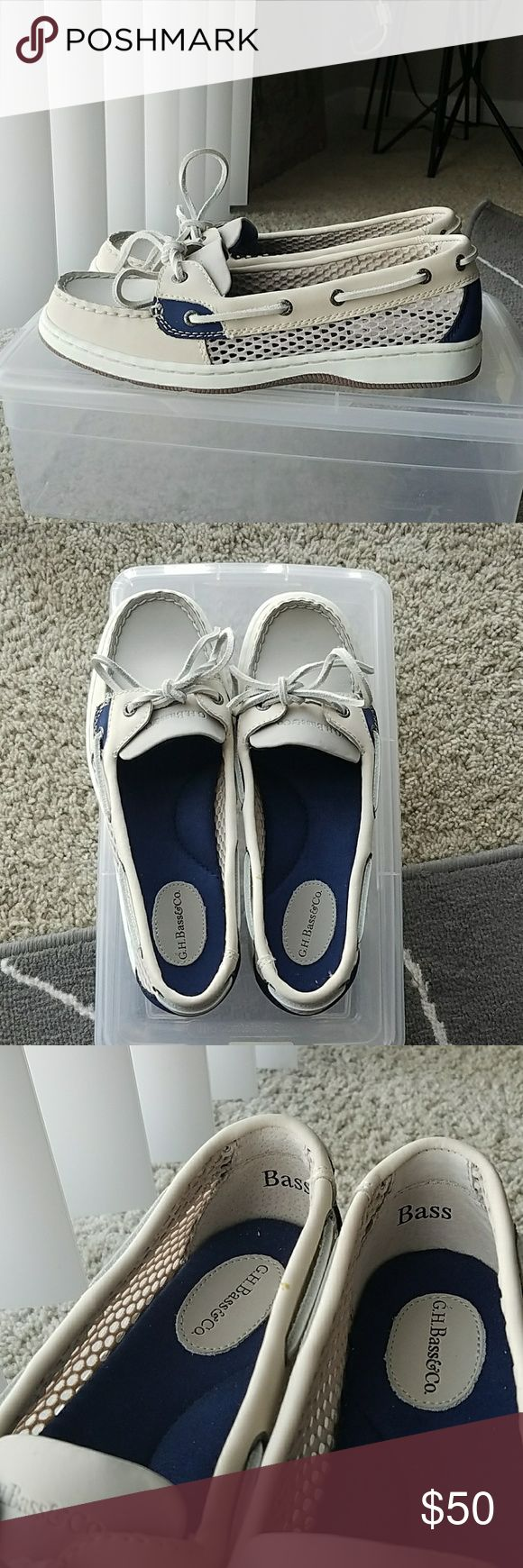 Boat Shoes G.H. Bass & Co dark blue and light cream (almost white) boat shoes. Size 7. Brand new (never worn). Mesh sides. G.H. Bass & Co. Shoes Flats & Loafers