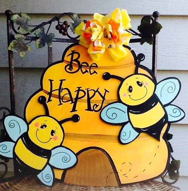 Bee door sign, bumble bee door sign, beehive door sign, bee door hanger, bee happy sign, bumble bee door hanger, beehive door hanger by Angelascreativecraft on Etsy https://www.etsy.com/listing/464793319/bee-door-sign-bumble-bee-door-sign
