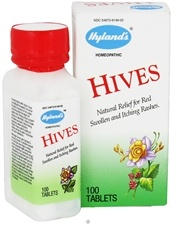 Hyland's Hives, formerly Hyland's #46, is a traditional homeopathic formula for the relief of symptoms of red, swollen and itching rashes that appear with sudden onset. Working without side effects, Hyland's Hives stimulates your body's natural healing response to relieve symptoms without sedative hangover. Hyland's Hives is safe for adults and children. Hyland's Hives provides relief of red, swollen itching hives or welts on the skin that appear with sudden onset. $7.99 www.luckyvitamin.com